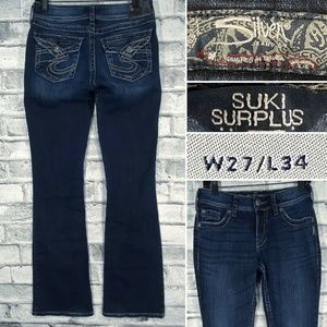 Silver Jeans Suki Surplus 27 x 34 Dark Flap Pocket